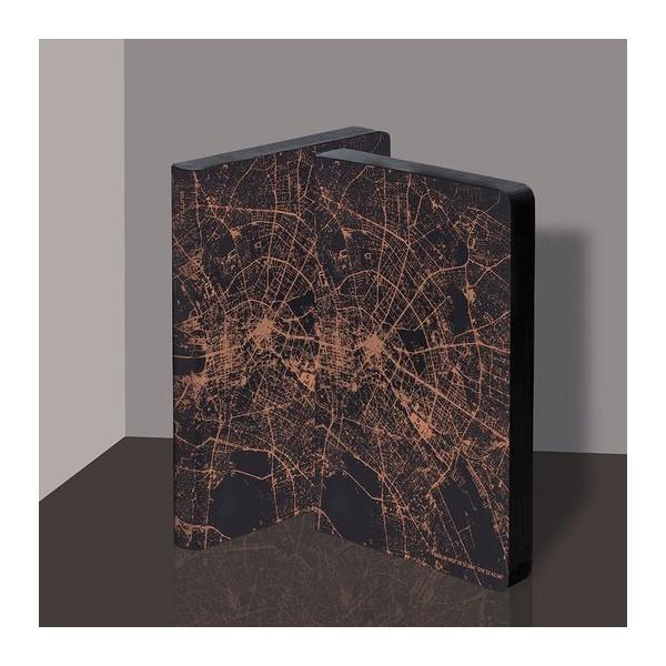 Nuuna exklusiv skrivbok anteckningsbok - GRAPHIC TRAVELLER LT - NIGHTFLIGHT OVER BERLIN COPPER