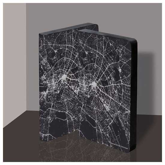 Nuuna exklusiv skrivbok anteckningsbok - GRAPHIC TRAVELLER LT - NIGHTFLIGHT OVER BERLIN SILVER