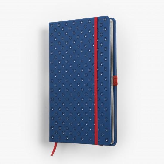 BLOMMA skrivbok - blå/silver djuppräglad - omslag - skrivi.se