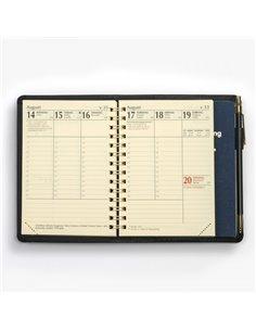 Klassisk konstskinn MER-kalender - svart omslag - toppvy