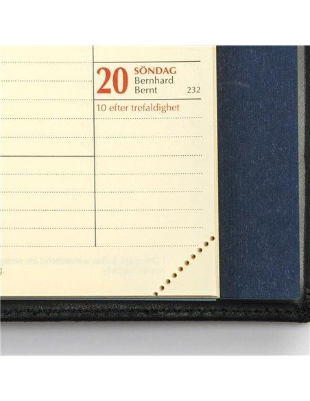 Tvådelad konstskinn MER-kalender - svart omslag - framsida