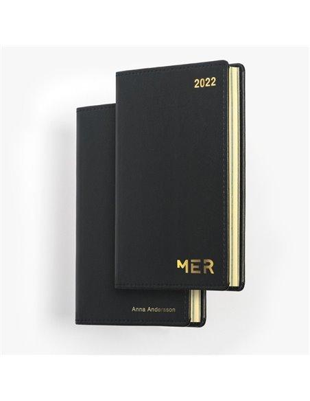 Tvådelad äkta skinn MER-kalender - penna med gulddetaljer ingår