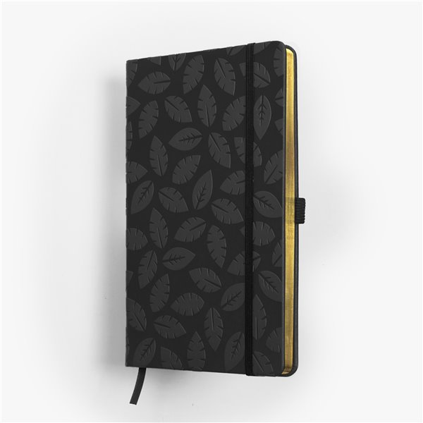 BLOMMA skrivbok - grå/guld djuppräglad - fokus på detaljer på framsidan - skrivi.se