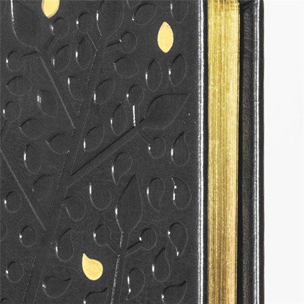 Tvådelad äkta skinn MER-kalender - uppslag - ligger plant på bordet - med penna
