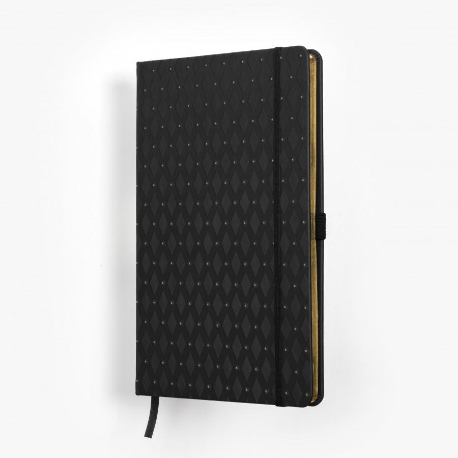 ROMB skrivbok - svart/guld djuppräglad - omslag - skrivi.se