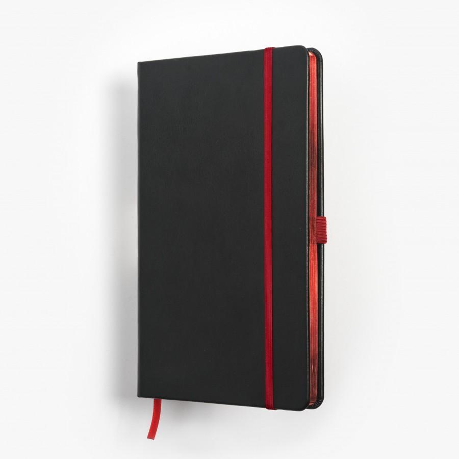 SKRIVI neutral svart och röd - exklusiv skrivbok - anteckningsbok - rött snitt - många detaljer