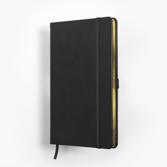 SKRIVI neutral svart och guld - exklusiv skrivbok - anteckningsbok - guldsnitt - många detaljer