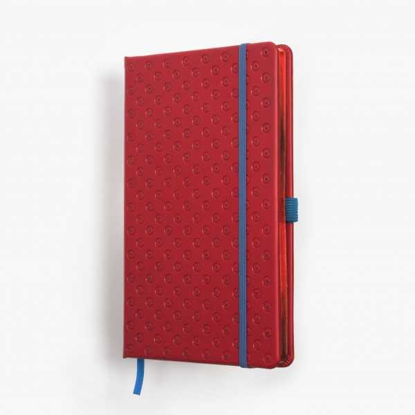 BLOMMA skrivbok - röd/blå djuppräglad - omslag - skrivi.se