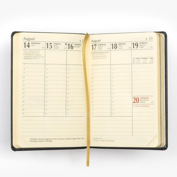 Exklusiv fickkalender 2021 - äkta skinn - veckouppslag - viktiga dagar - flera detaljer