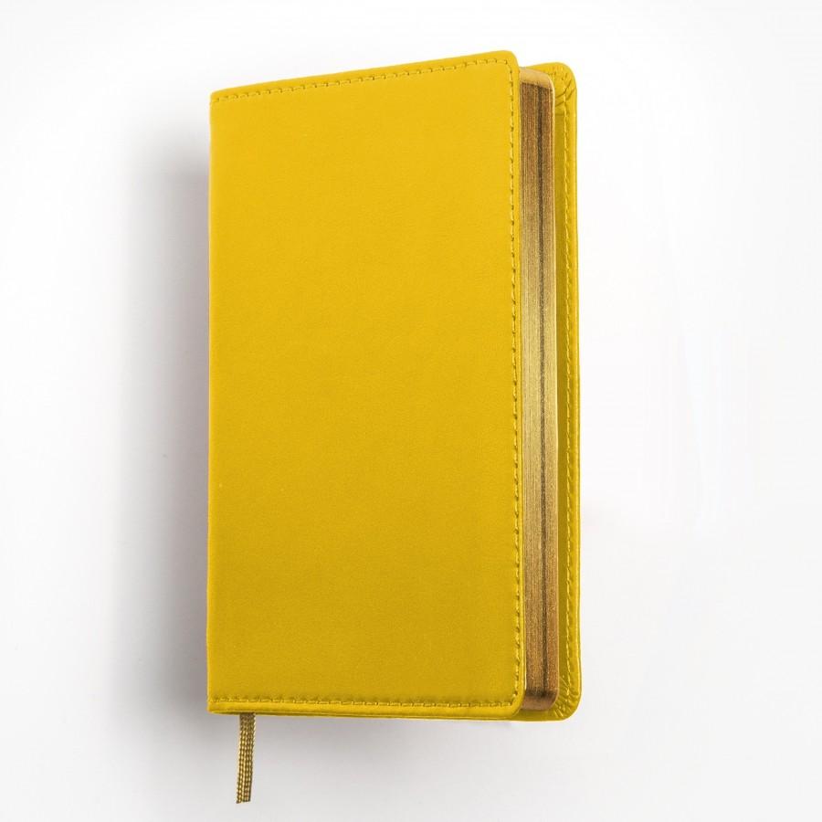 Exklusiv fickkalender 2021 - äkta skinn - gult omslag