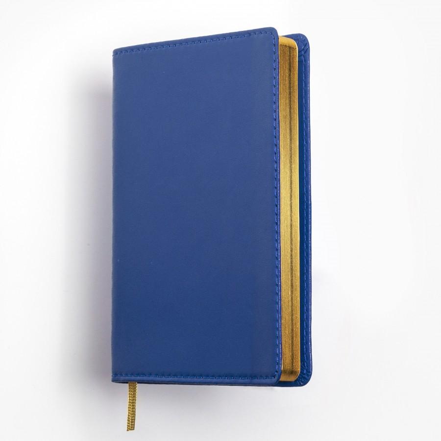 Exklusiv fickkalender 2021 - äkta skinn - blått omslag