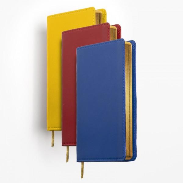 Tvådelad fickkalender 2021 - spriralbunden - äkta skinn - välj din önskade färg på omslaget - röd blå svart brun gul