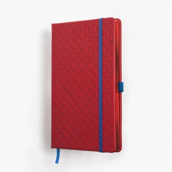 Anteckningsbok exklusiv BLOMMA - röd/blå djuppräglad - skrivi.se