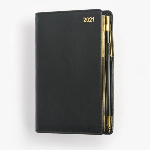 Tvådelad fickkalender 2021 - spriralbunden - äkta skinn - svart - guldsnitt - penna