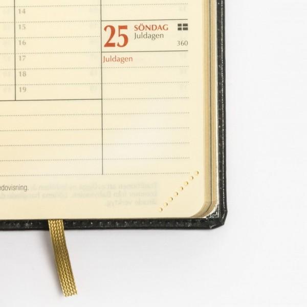 Exklusiv fickkalender 2022 - äkta skinn - perforerade hörn - märkband i textil