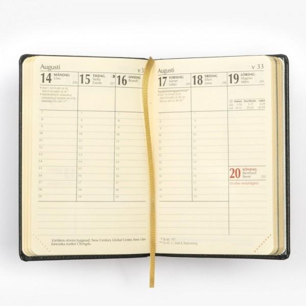 Exklusiv fickkalender 2022 - äkta skinn - veckouppslag - viktiga dagar - flera detaljer