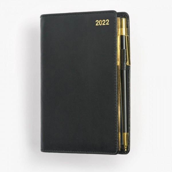 Tvådelad fickkalender 2022 - spiralbunden - äkta skinn - svart - guldsnitt - penna