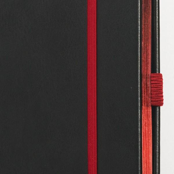 SKRIVI neutral svart och röd - exklusiv skrivbok - anteckningsbok - rött snitt - zoom